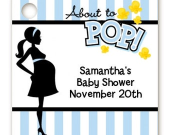 About To Pop Blue- Baby Shower Favor Tags – Set of 20 - Printed, Personalized and Hole Punched