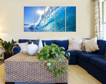 Seascape Canvas Prints - Wave Photo Canvas Print - Water Canvas Art - Ocean Photo Canvas Prints - Framed Ready to Hang - Ocean Wave Wall Art
