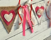 Fabric Banner, Valentines Decoration Banner, Lace and Burlap Garland, Rustic Swag, Wedding Decor Bunting, Red and Pink Be Mine Sign Heirloom