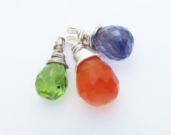 Three Gemstone Sterling Briolette Charms Iolite Carnelian, Peridot