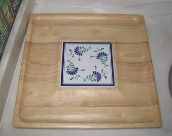 REDUCED Dansk wood and ceramic tile snack tray