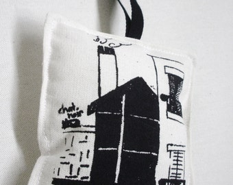 Handmade French Cushion. Decorative Pillow. French Pin Cushion. Screen Print Cushion. Large. Black House. French. Room with a View Paris.