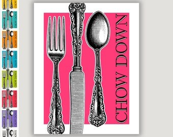 Chow Down, kitchen art print, dining room art, silverware print, restaurant art, food art, dining wall art, idiom, bright colors, colorful
