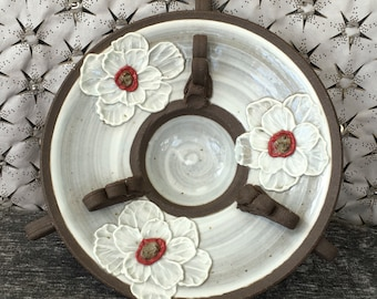 Ceramic Serving Bowl, Dish with Poppy Flowers in Summer White on Black Mountain