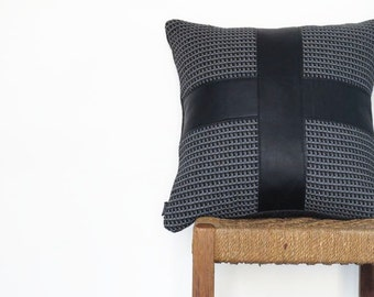 Black Leather and Charcoal Fabric Pillow ... Luxe Sofa Cushion with Leather Cross