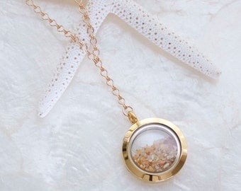 14kt Yellow Gold Fill Sands of Time Fillable Mourning Memorial Keepsake Locket Necklace Shake Cremation Necklace Floating Memory Locket
