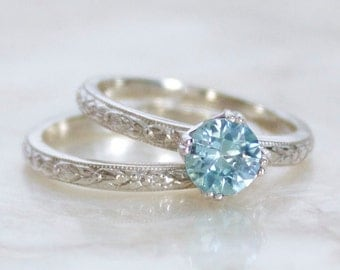 Vintage Reproduction Wedding Set in Sterling Silver & Natural Blue Zircon Engagement Wedding Ring Set Eco Friendly, Ethical, Conflict Free