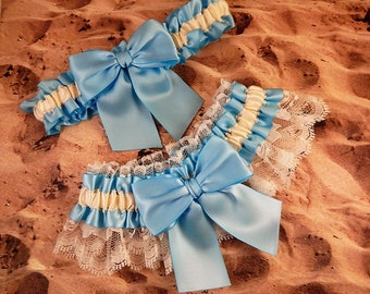 Baby Blue Light Ribbon Ivory Lace Bridal Wedding Garter Toss Set