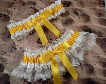 Daffodil Yellow Ribbon Ivory Lace Bridal Wedding Garter Toss Set