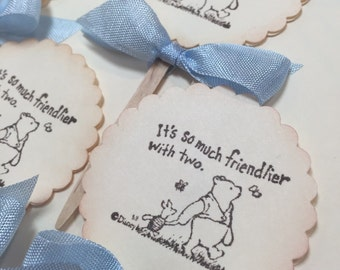 Winnie the Pooh Cupcake Toppers, Winnie the Pooh Cake Toppers It's so much friendlier with two, Baby Shower, Twins Baby Shower Set of 12ECS