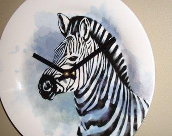 Zebra Wall Clock 9 Inches SILENT, Nursery Decor, Zoo Animal Decor, Safari Clock, Cute Giraffe Clock, Child Bedroom Clock - 2276