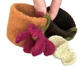 Felt Ring Bowl Felted Container Knitted Flower Pumpkin Orange Magenta Chocolate Brown Beige Best Friend Hostess Bridesmaid Gift Idea