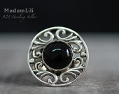 """925 Sterling Silver Ring """"Onyx"""""""
