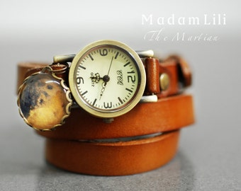 MARTIAN Leather Wrap Watch Bracelet