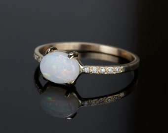 Partial Payment 3/3 Opal and Diamond Ring - Delicate Natural AAA Opal 14k Ring - Solid 14k Gold with a Genuine Fiery Australian White Opal