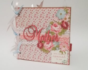 "Paper Bag Photo Album,Brag Book, shabby chic, Mother, floral, pink, white, blue  (premade pages) 6"" x 6"""