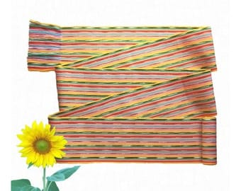 Zesty Yellow Sash SA75 - Rainbow Belt - Boho Chic Fashion - Bohemian Accessories - Guatemalan Textiles - Ikat Fabric Sash - Hippie Belt