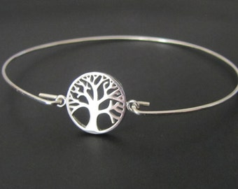 Tree of Life Bangle Bracelet,  Tree of Life Bracelet, Sterling Silver, Jewelry, Friendship Bracelet, Gift
