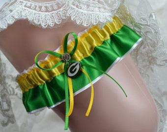 Wedding Garter Set Green Bay Packers Theme -Keepsake Wedding Garter/ Keepsake Bridal Garter /Sport Garter