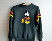 Vintage Disney Mickey Mouse XS Black Sweatshirt with Velvet Emblem