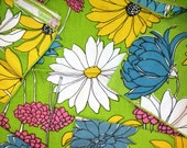 Go Green! 6 Vintage Flowers Daisy Picnic Print Cloth Napkins