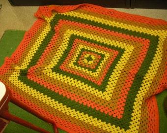 """Groovy Vintage Handmade  Afghan 64"""" x 62"""""""