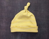 Top Knot Baby Hat - Citron Stripes