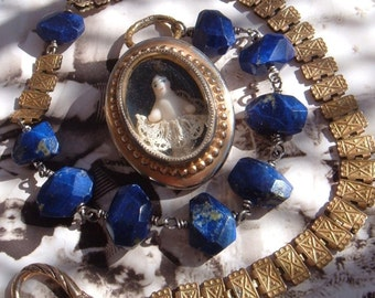 Baby Blue-Edwardian Porcelain Doll Locket Assemblage Necklace