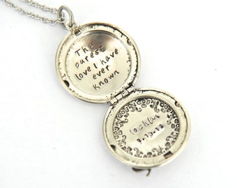 Elephant Locket, Elephant Jewelry, Hand Stamped Locket, Message Locket, Personalized Locket, Gift For Her, Gift For Mom