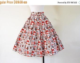 ON SALE 50s Skirt - Vintage 1950s Novelty Print Atomic Pumpkin Chocolate Cotton Full Skirt XS S - Gizmo Girl