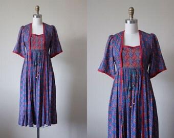 70s Dress - Vintage 1970s Dress - Bell Sleeve Rich Hippie Empire Tent Dress w Beaded Ties XS - Marrakesh Dress
