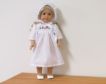 Regency Era Nightgown, Cap and Slippers for American Girl Doll, Caroline.
