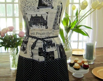 Everyday Apron - Vitage inspired Paris Newspaper print mixed with black and white dots.