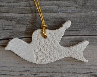 Peace dove  ornament Porcelain, Joy, Christmas, holiday cheer and decor, friendship exchange gifts