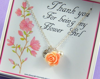 Flower Girl Thank You - Gift Boxed Jewelry Flower Girl Necklace Personalized Flower Girl Gift