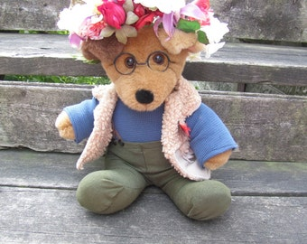Will Graham Dog with flower crown, altered plush dog stuffed toy