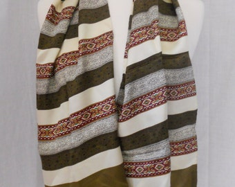"""Vintage silk scarf. Made in Italy. 11"""" by 52"""". Brown, gold, maroon, green stripes. Hand rolled hem."""