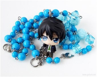 Haruka Nanase Rosary Necklace, Beaded Chain, Blue Necklace, Anime Necklace, Kawaii Jewelry, Anime Jewelry, FREE