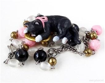 Black Maneki Neko Necklace, Lucky Cat Necklace, Cat Figurine Jewelry, Cat Jewelry, Waloli, Japanese Kawaii