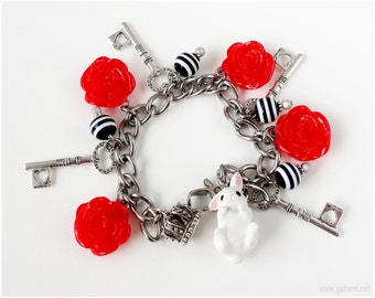 Alice in Wonderland White Rabbit Charm Bracelet, Red Roses, Silver Key Charms, Black and White Stripes, Steel Chain, OOAK, Gothic Lolita