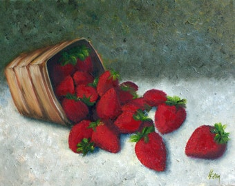 Still Life Painting, Strawberry Painting, Basket of Strawberries, Original Oil Painting, Helen Eaton