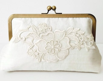 Silk and lace bridal clutch, silk and lace clutch, silk and lace wedding clutch, bridesmaid clutch, casual wedding, country wedding