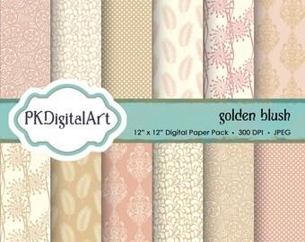 "Golden Blush Digital Paper - ""Golden Blush""  Wedding Scrapbook Paper Backgrounds Design Projects Crafting Supplies in Beige Pink Gold"