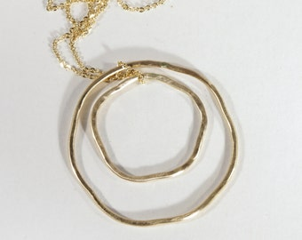 Organic Double Circle Hammered Matte Gold Necklace Handmade Boho Graphic Modern Jewelry
