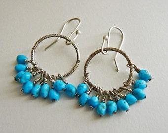 Sterling silver hoop earrings - turquoise hoops - handcrafted blue earrings - lightweight
