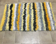 Unique Yellow Shag Rug Related Items Etsy