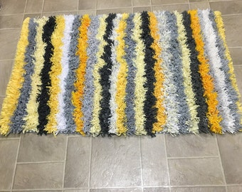 Large Yellow and Gray Stripe Fine Shag Rug SALE was 105
