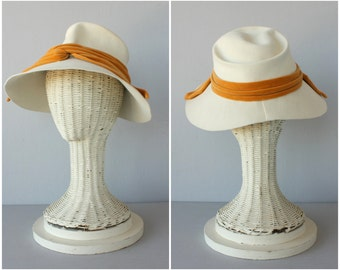 Vintage 1940s Hat |40s Hat | 40s Wool Fedora | Cream Fedora | 40s Vintage Hat | 1940s Fedora