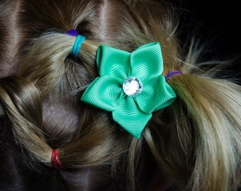 Hair Bow - Mint Green Grosgrain 5 Petal Hair Flower