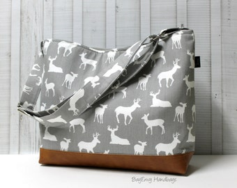 Grey Deer Buck with Vegan Leather - Messenger Tote Bag /  Diaper Tote -  Medium / Large Bag  SALE